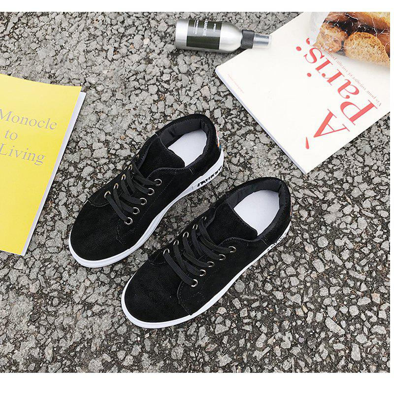 2018 New Style Simple Round Toe Solid Color Cloth Cover Shoes - BLACK 38