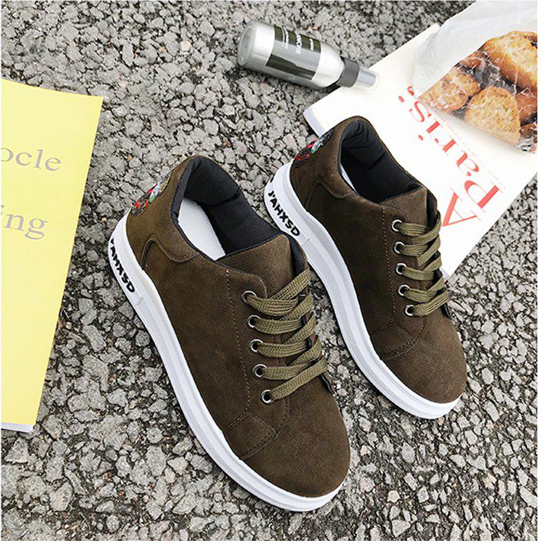2018 New Style Simple Round Toe Solid Color Cloth Cover Shoes - ARMYGREEN 35