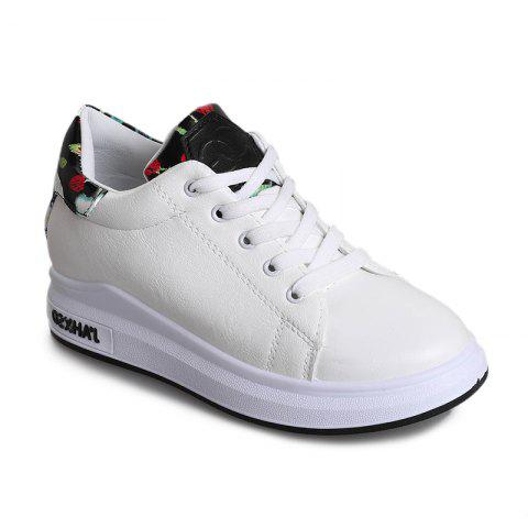 2018 New Style Fashion Solid Color Round Toe Increased Internal Non-Slip Rubber Sole Shoes - WHITE 37