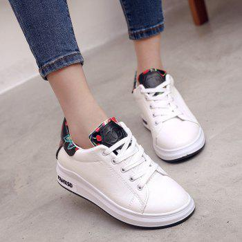 2018 New Style Fashion Solid Color Round Toe Increased Internal Non-Slip Rubber Sole Shoes - WHITE WHITE