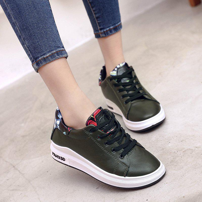 2018 New Style Fashion Solid Color Round Toe Increased Internal Non-Slip Rubber Sole Shoes - ARMYGREEN 38