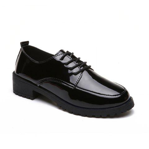2018 New Style Fashion Comfortable Cloth Round Toe Solid Color Rubber Sole Shoes - BLACK 35