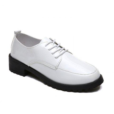 2018 New Style Fashion Comfortable Cloth Round Toe Solid Color Rubber Sole Shoes - WHITE 35