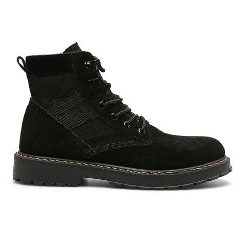 Male Martin Boots Winter Working Boots with High Upper - BLACK 40