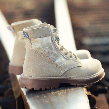 Male Martin Boots Winter Working Boots with High Upper - BEIGE BEIGE