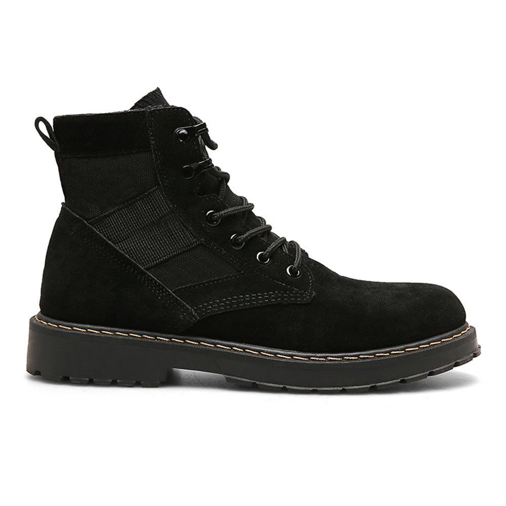 Male Martin Boots Winter Working Boots with High Upper - BLACK 44
