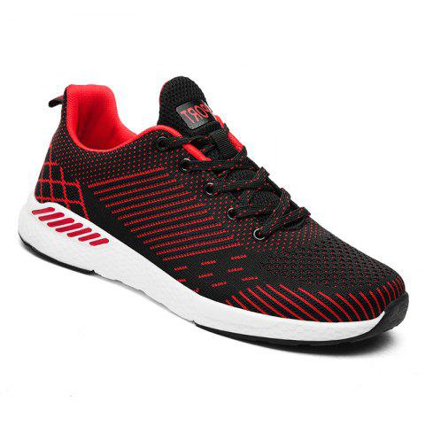 Flying Knitted Unisex Running Shoes - BLACK/RED 46