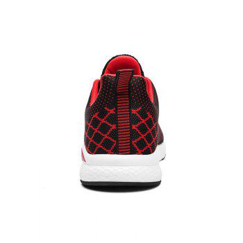 Flying Knitted Unisex Running Shoes - BLACK/RED 43