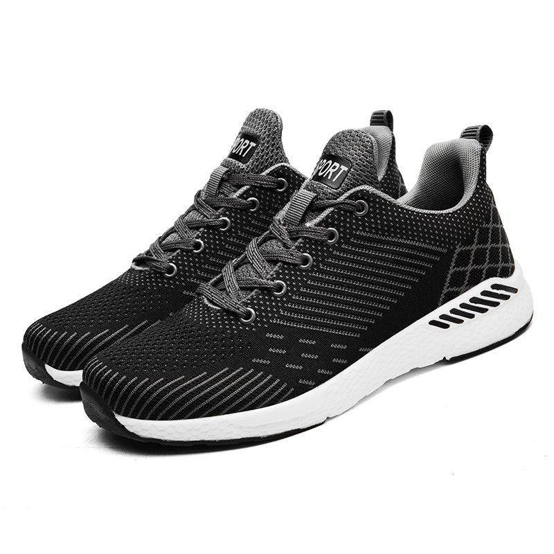 Flying Knitted Unisex Running Shoes - DARK GREY 41