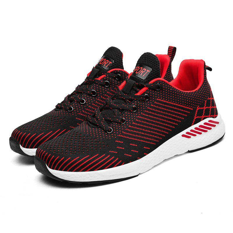 Flying Knitted Unisex Running Shoes - BLACK/RED 47