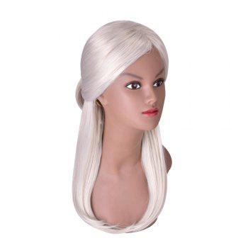 Hairyougo 4091 Silver Gray Long Hair Synthetic Women Straight Wig with Chignon - GRAY