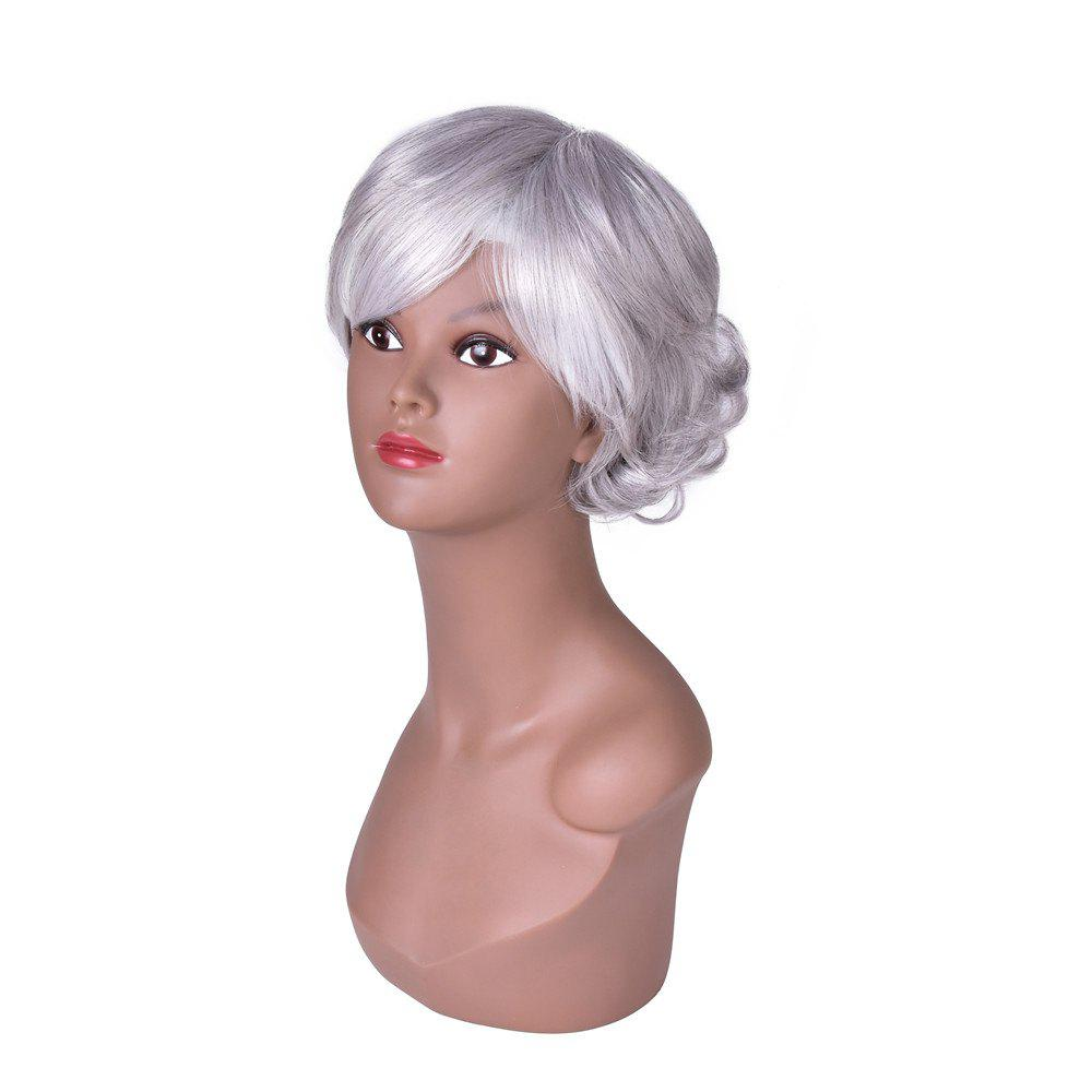 Hairyougo 0129 15cm Silver White High Temperature Fiber Short Curly Wig - SILVER WHITE