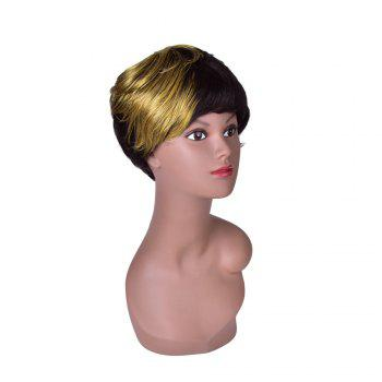 Hairyougo 0200 Short Straight Wig Synthetic Women - BLACK / GOLDEN
