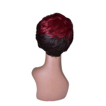 Hairyougo 0200 Short Straight Wig Synthetic Women - BLACK/RED