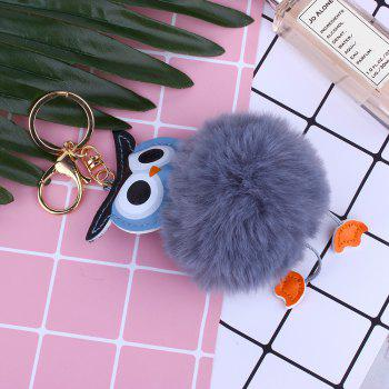 Owl Styling Fur Flocculus Keychain - GRAY