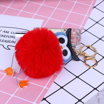 Owl Styling Fur Flocculus Keychain - RED