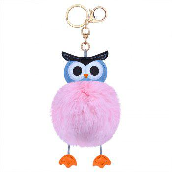 Owl Styling Fur Flocculus Keychain - PINK PINK