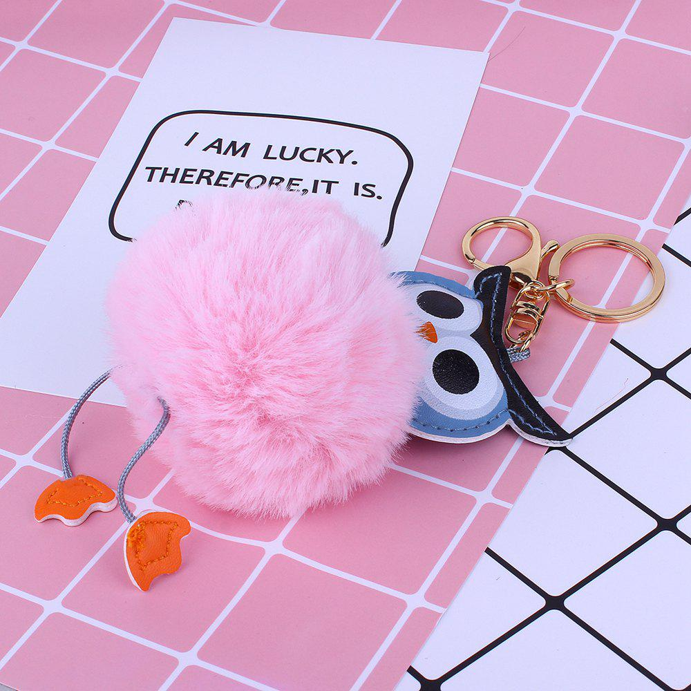 Owl Styling Fur Flocculus Keychain - PINK