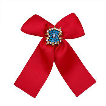 Bow Shaped Rhinestone Brooch - RED RED