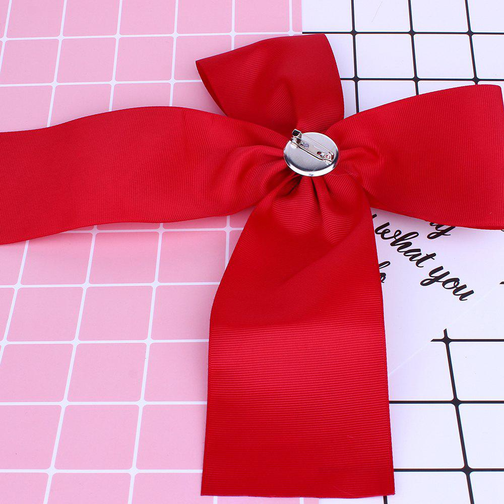 Bow Shaped Rhinestone Brooch - RED
