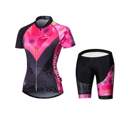 Malciklo 18 New Products Summer Cycling Jersey Tights Woman Short Bike Compression Suits - BLACK/RED XS