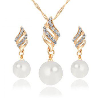 Hot Style Lingling Pearl Earrings Necklace Set with Spiral Jewelry Korean Edition Simple Wind Accessories Suit - GOLDEN GOLDEN