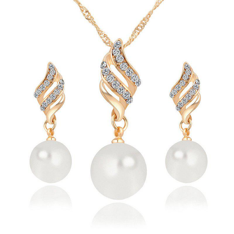 Hot Style Lingling Pearl Earrings Necklace Set with Spiral Jewelry Korean Edition Simple Wind Accessories Suit - GOLDEN