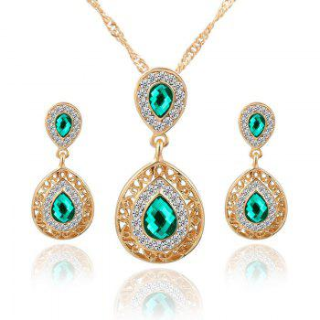 European and American Sales of New Ear Nail Necklace Set with Crystal Earrings Drop Pendant Triple Piece - GREEN GREEN