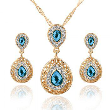 European and American Sales of New Ear Nail Necklace Set with Crystal Earrings Drop Pendant Triple Piece - BLUE BLUE