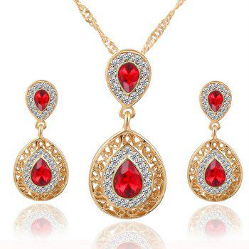 European and American Sales of New Ear Nail Necklace Set with Crystal Earrings Drop Pendant Triple Piece - RED RED