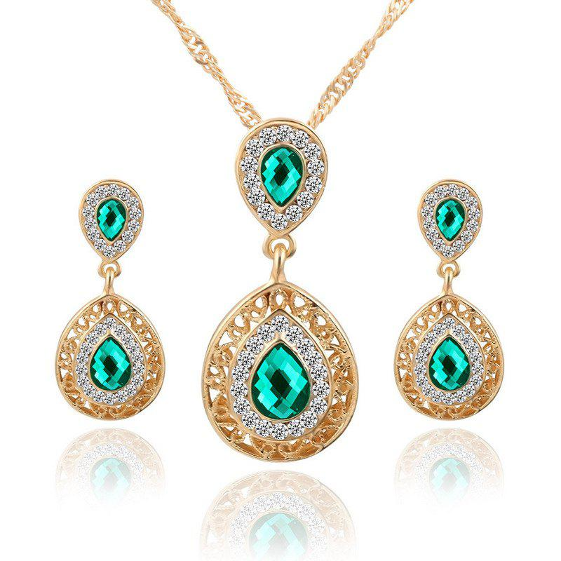 European and American Sales of New Ear Nail Necklace Set with Crystal Earrings Drop Pendant Triple Piece - GREEN