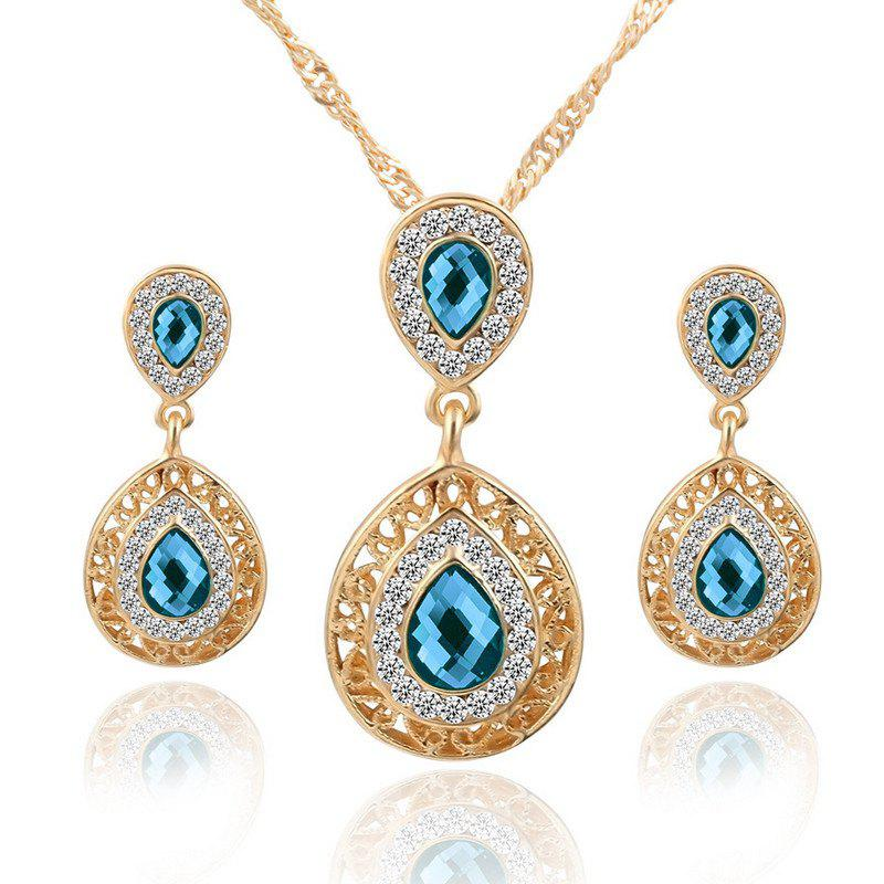 European and American Sales of New Ear Nail Necklace Set with Crystal Earrings Drop Pendant Triple Piece - BLUE