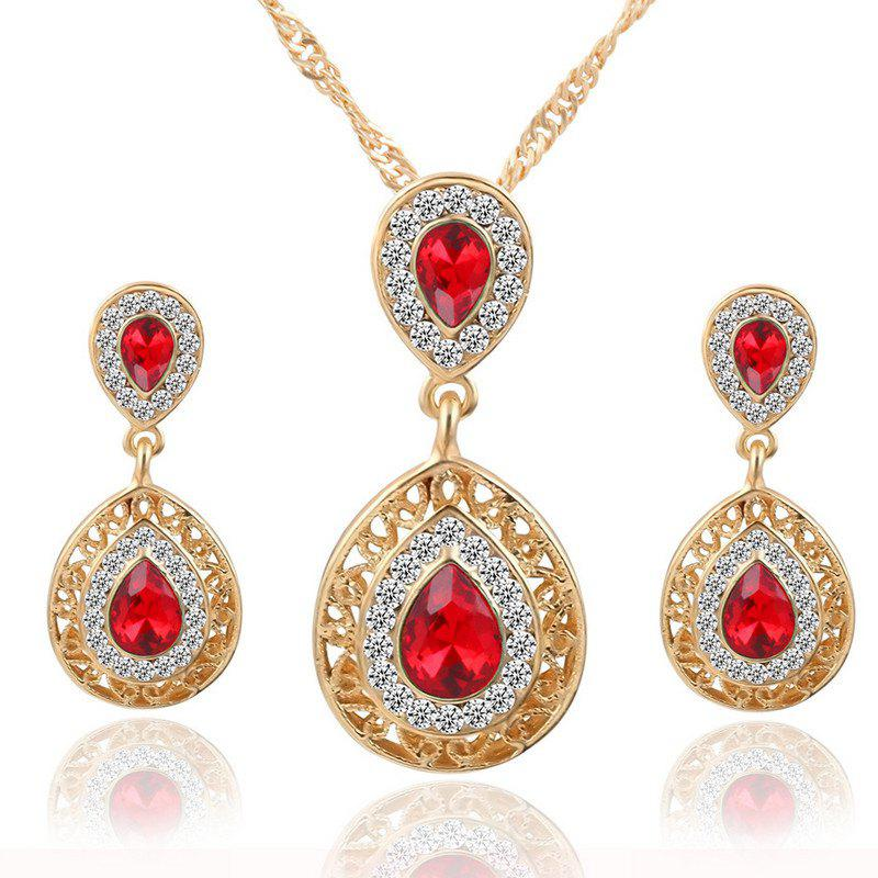 European and American Sales of New Ear Nail Necklace Set with Crystal Earrings Drop Pendant Triple Piece - RED