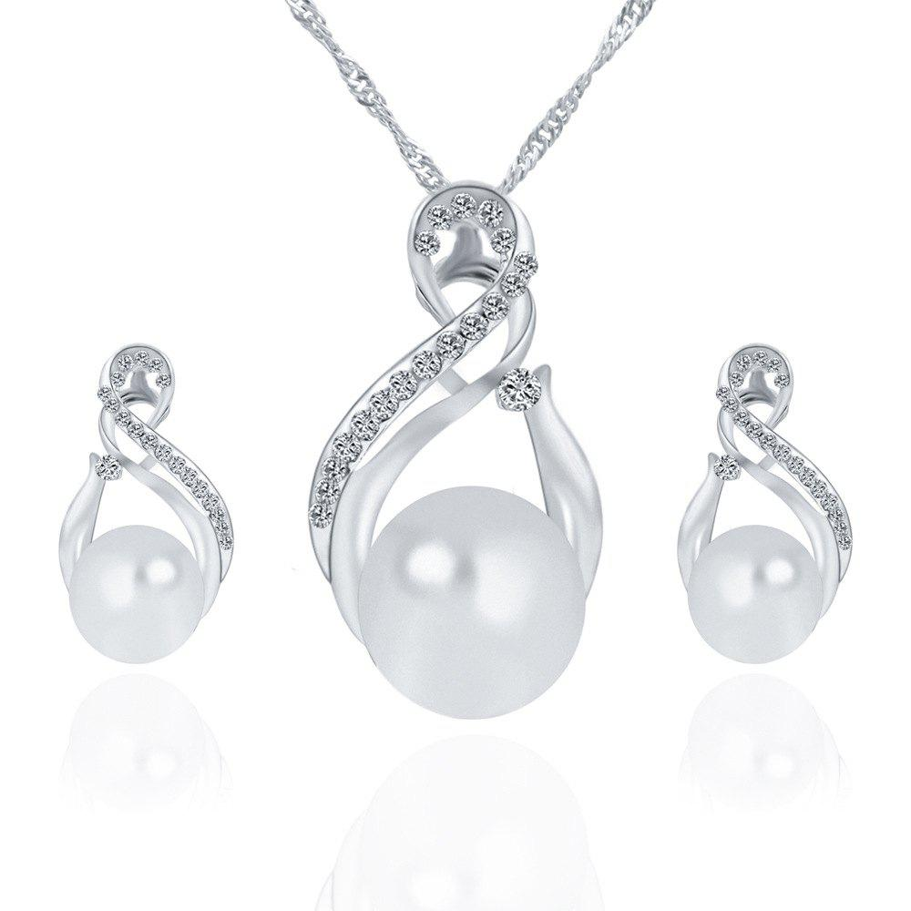 Korean Version of The New Necklace Earrings Set of Female South Korean  Pendant Jewelry Three-Piece Set - SILVER