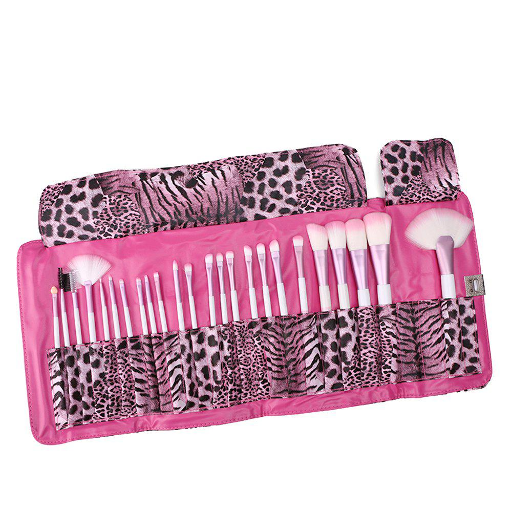 24 Piece Pink Leopard Brush Set - PINK 24 X 17 X 4CM