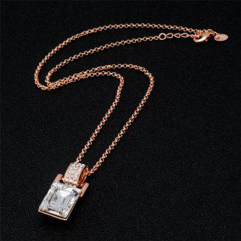 Barrel Shaped Crystal Inlaid Pendant Necklace Earring Set - ROSE GOLD