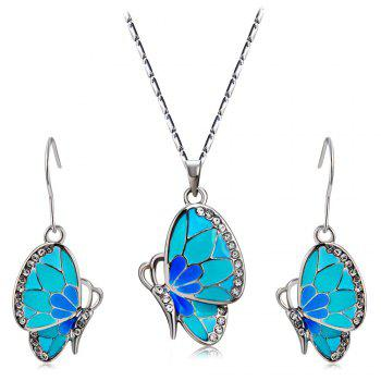 Women's Crystal Blue Butterfly Inlaid Alloy Necklace Earring Set - SILVER SILVER