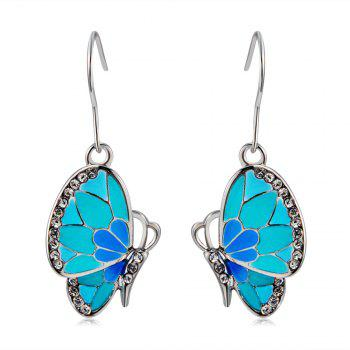 Women's Crystal Blue Butterfly Inlaid Alloy Necklace Earring Set -  SILVER