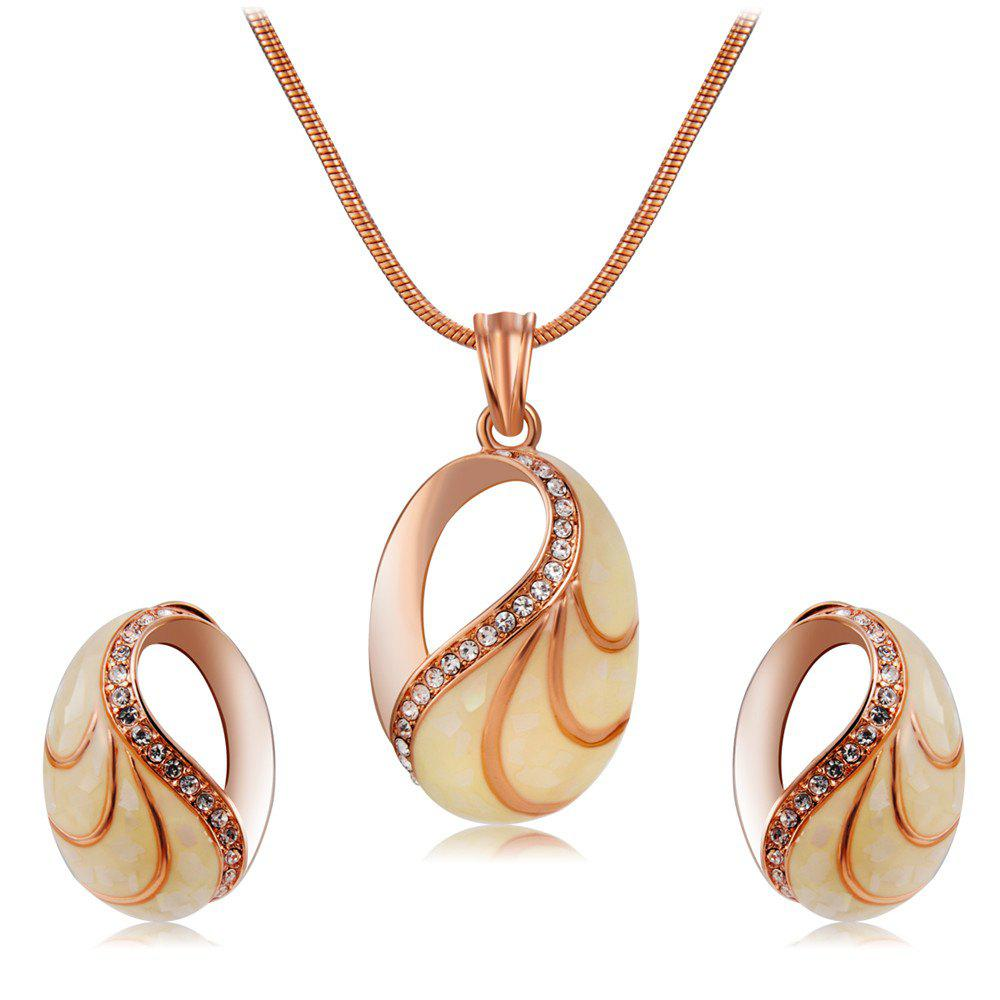 Turtle Shell Style Crystal Necklace Earring Set for Women - ROSE GOLD