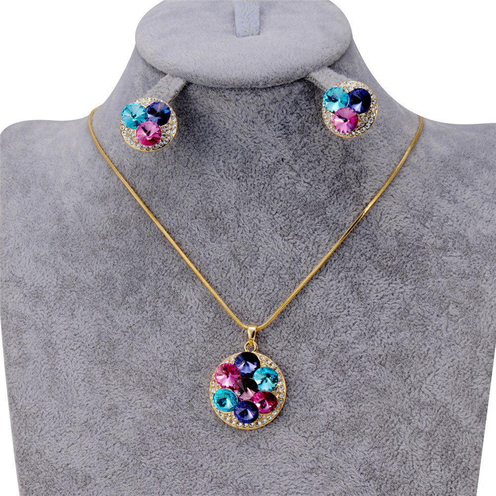 Women'S Fashionable Crystal Inlaid Pendant Necklace Earring Set - GOLDEN