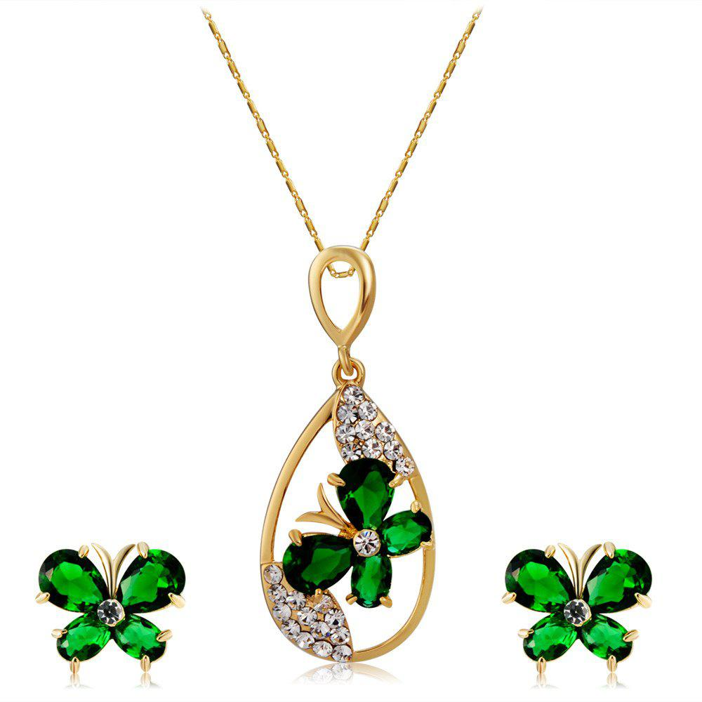 Butterfly and Water Drop Design Pendant Necklace Earrings Sets for Women - GOLDEN