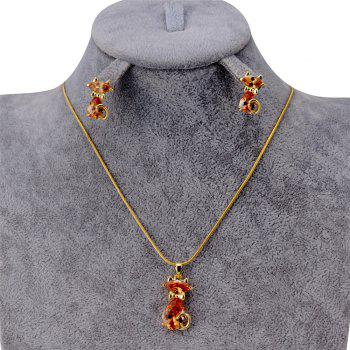 Lovely Cat Crystals Inlaid Pendant Necklace Earring Set - GOLDEN