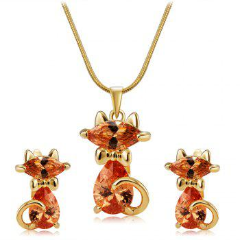 Lovely Cat Crystals Inlaid Pendant Necklace Earring Set - GOLDEN GOLDEN