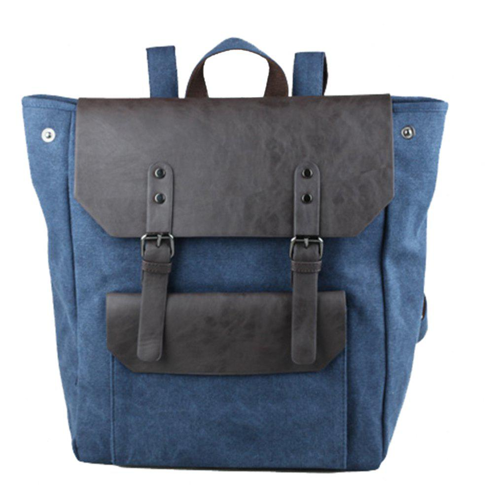 1Pc Male Canvas Backpack Rucksacks Travel Bag Fashion Shoulder Bags - BLUE