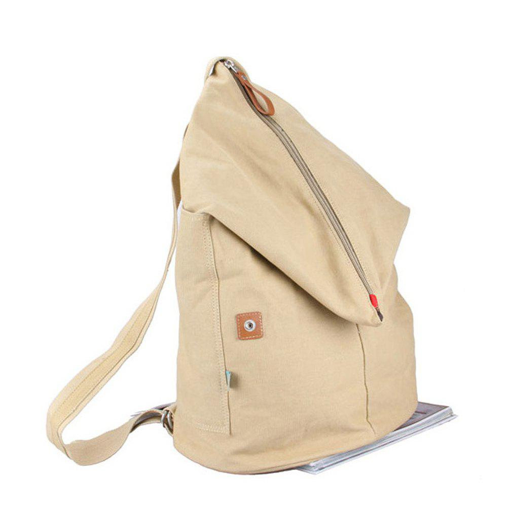 1PC Computer Backpack High School Canvas Bag travel Bags - KHAKI