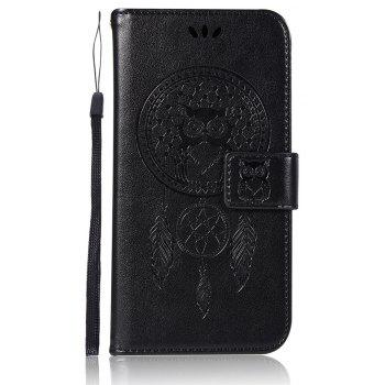 Owl Campanula Fashion Wallet Cover For Alcatel A5 LED 5085 / 5085D Case PU Flip Retro Leather Case Phone Bag With Stand - BLACK