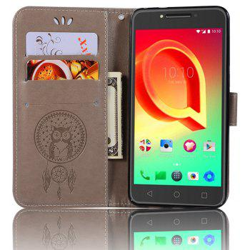 Owl Campanula Fashion Wallet Cover For Alcatel A5 LED 5085 / 5085D Case PU Flip Retro Leather Case Phone Bag With Stand - GRAY