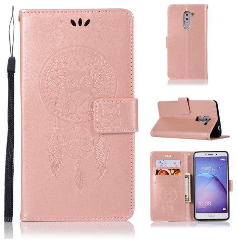 Owl Campanula Fashion Wallet Cover For Huawei Honor 6X Case PU Luxury Vintage Flip Leather Case Phone Bag With Stand - ROSE GOLD