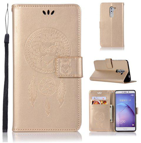 Owl Campanula Fashion Wallet Cover For Huawei Honor 6X Case PU Luxury Vintage Flip Leather Case Phone Bag With Stand - GOLDEN