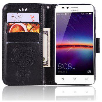 Owl Campanula Fashion Wallet Cover For Huawei Y3 II / LUA-U22 Case PU LuxuryFlip Leather Case Phone Bag With Stand - BLACK